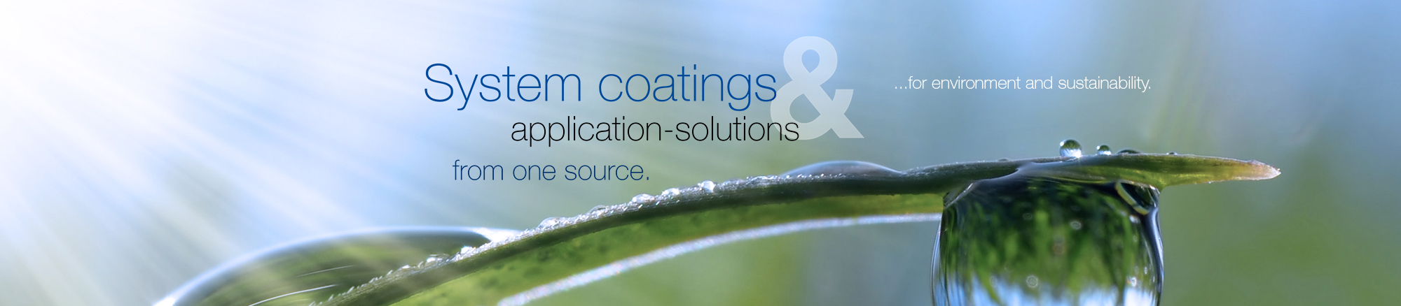 System coatings & application solutions from one source - for environment and sustainability