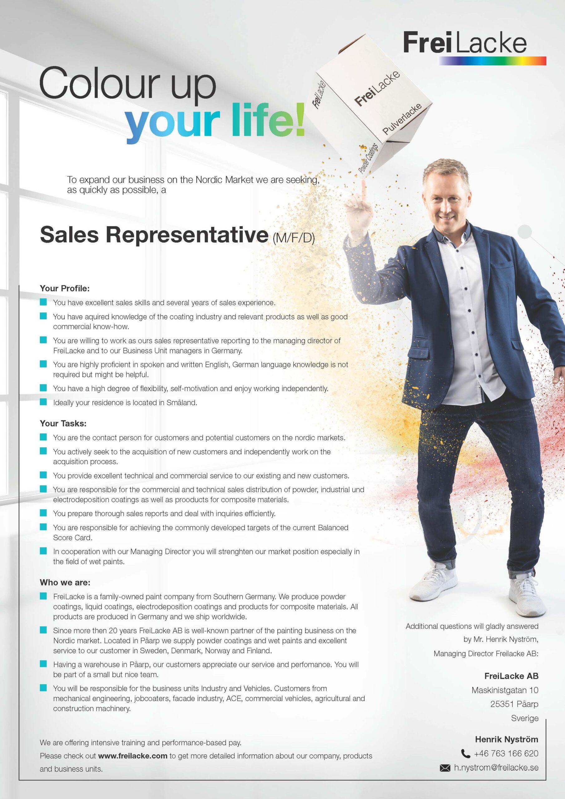 Sales Representative Sweden